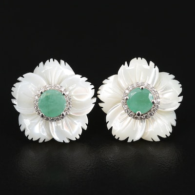 Sterling Emerald, Mother of Pearl and Cubic Zirconia Flower Earrings