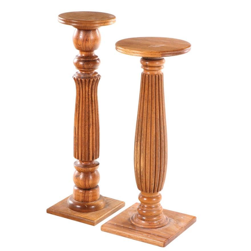 """Two Oak Display Pedestals, Stamped """"GLENN"""", Mid to Late 20th Century"""