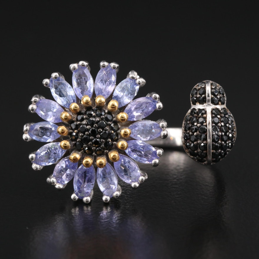 Sterling Silver Tanzanite and Spinel Flora and Fauna Torque Ring