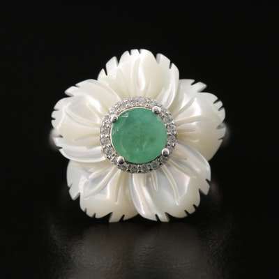 Sterling Silver Emerald, Mother of Pearl and Cubic Zirconia Flower Ring