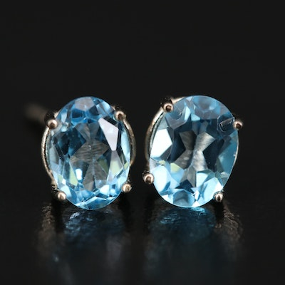 14K Swiss Blue Topaz Stud Earrings