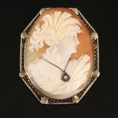 Vintage 14K Shell and Diamond Habillé Cameo Converter Brooch