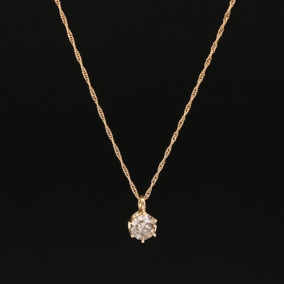 18K 0.60 CT Diamond Solitaire Pendant Necklace