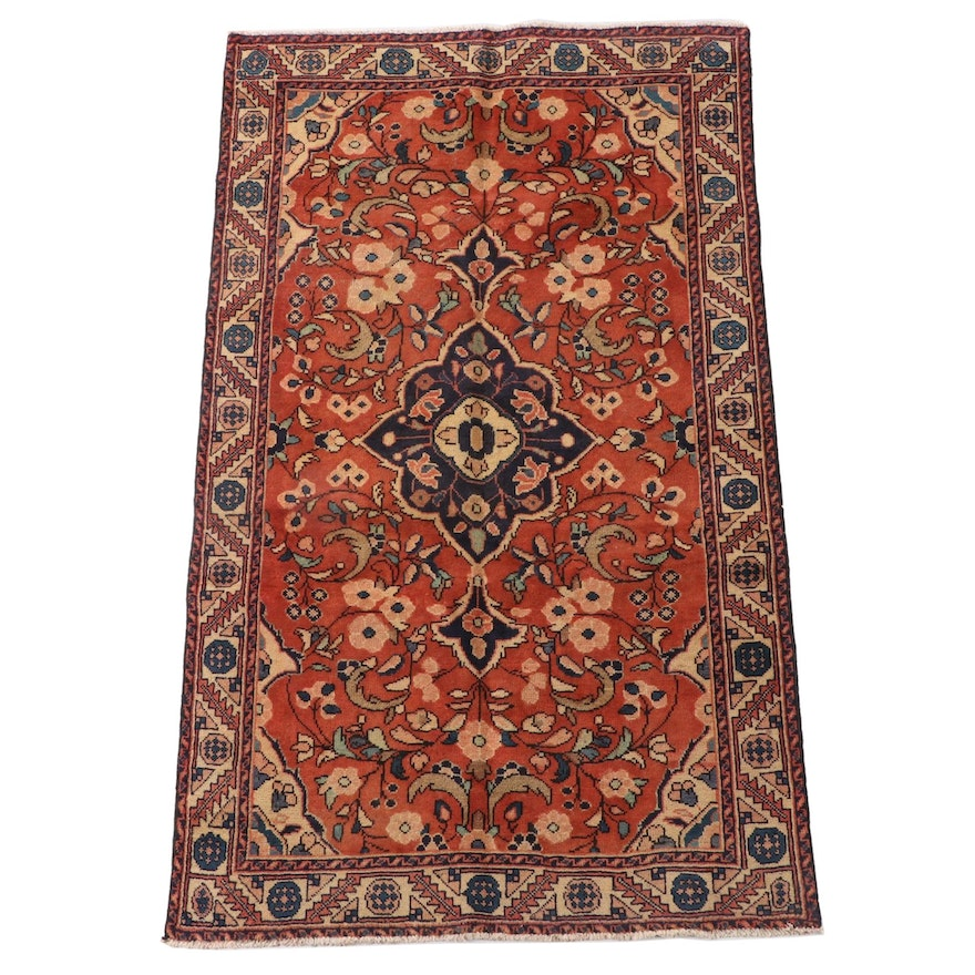 4'2 x 6'11 Hand-Knotted Persian Malayer Wool Area Rug