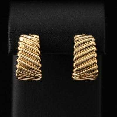 18K Ribbed J Hoop Clip Earrings