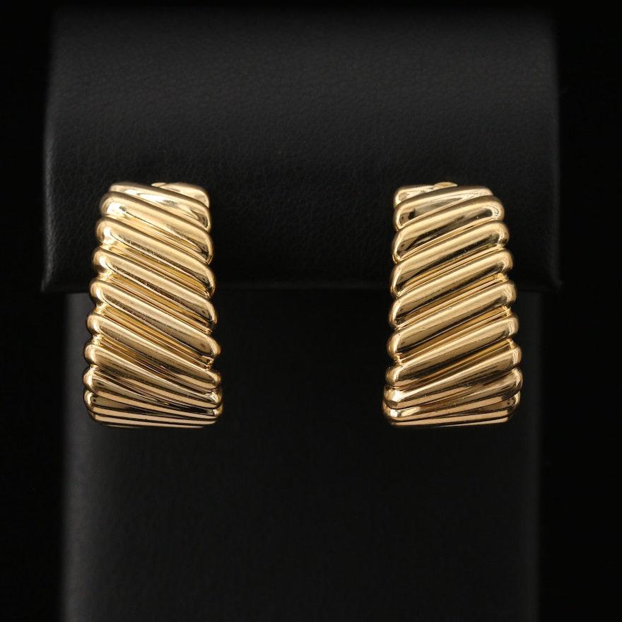 18K Ribbed J Hoop Clip Earrings