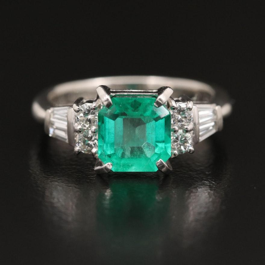 Platinum 1.19 CT Emerald and Diamond Ring