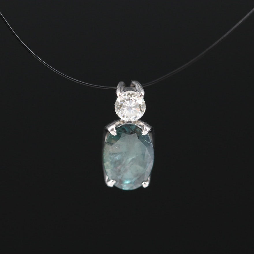 Platinum Alexandrite and Diamond Pendant