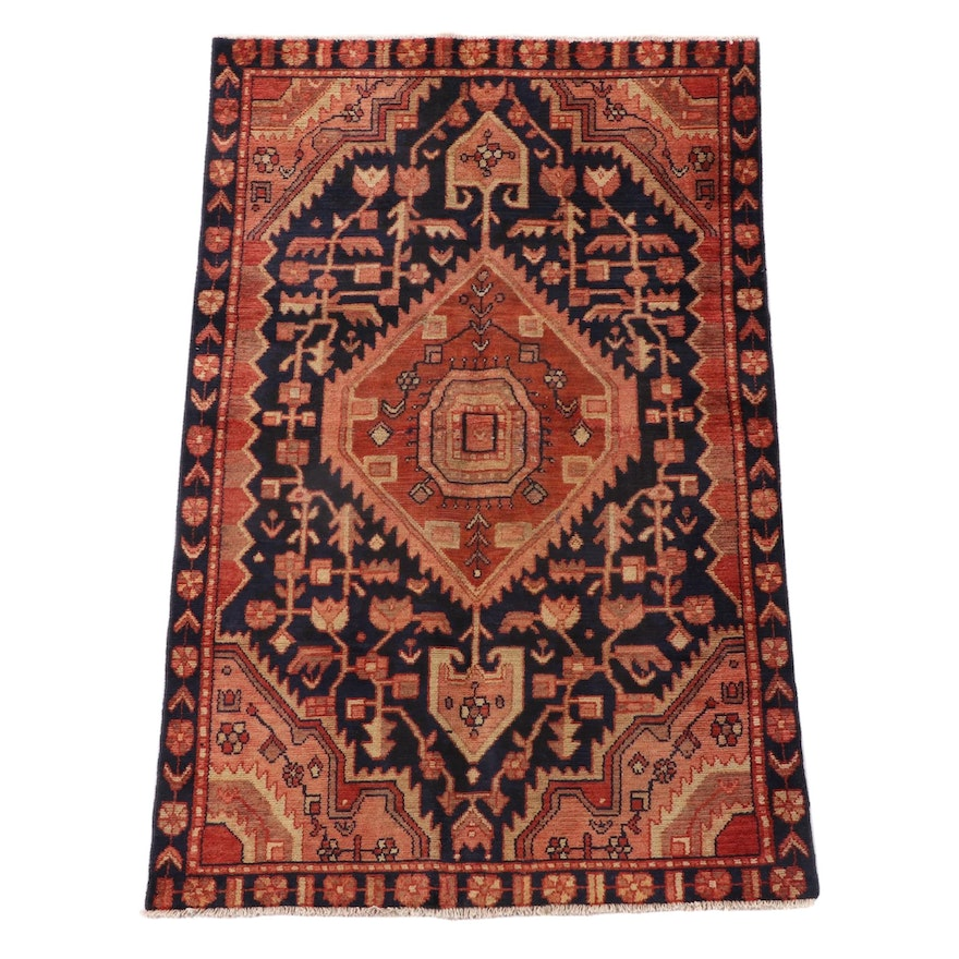 4'3 x 6'7 Hand-Knotted Persian Kharaghan Wool Area Rug