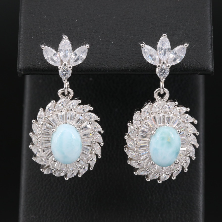 Sterling Silver Larimar and Cubic Zirconia Drop Earrings