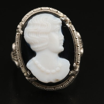 Late Art Deco 14K Onyx Openwork Cameo Ring