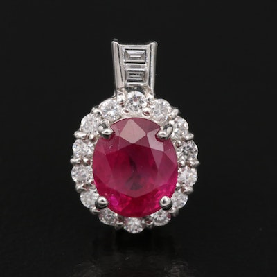 Platinum 1.58 CT Ruby and Diamond Pendant