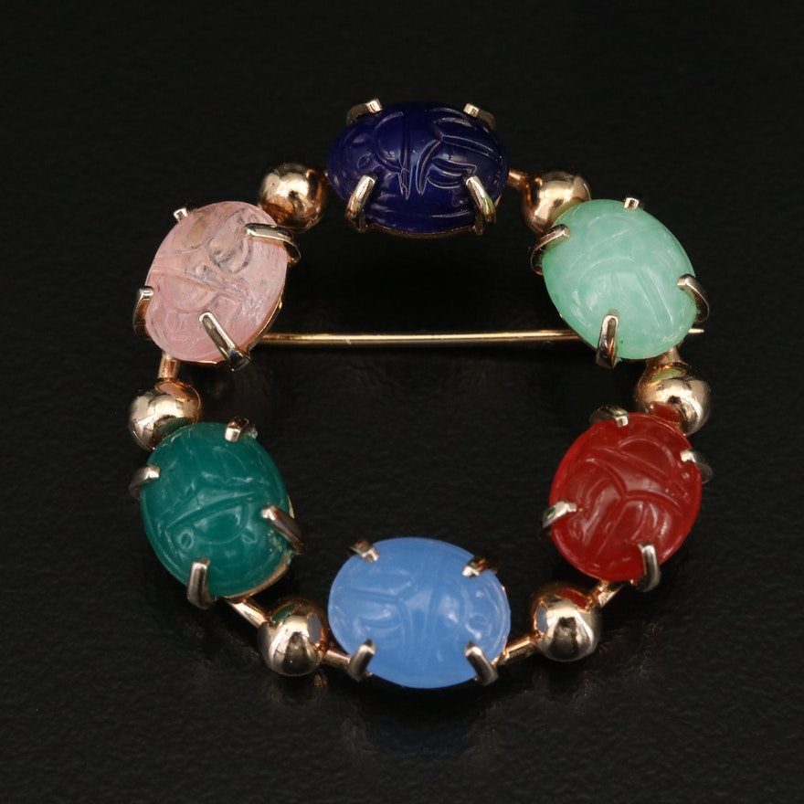 Multi-Colored Faux Gemstone Scarab Circle Brooch