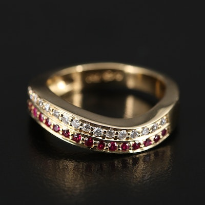 18K Diamond and Ruby Wave Band