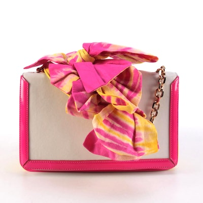 Christian Louboutin Bow Chain Bag in Color Block Leather with Neon Trim