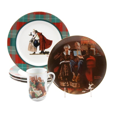 """Norman Rockwell """"Saturday Evening Post Series"""" Plates with Other Plate and Cup"""