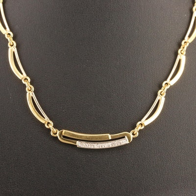 18K Diamond Curved Bar Link Necklace
