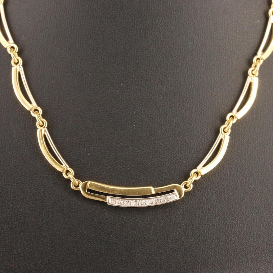 18K Diamond Curved Bar Link Necklace