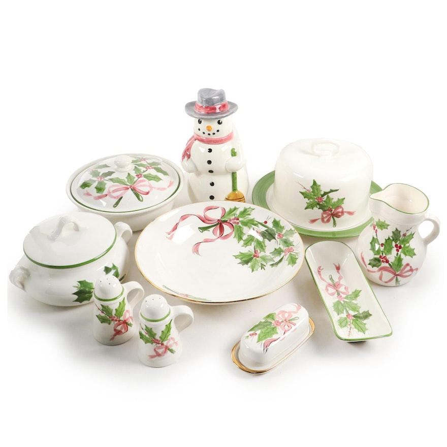"Laurie Gates of Los Angeles Pottery ""Holly"" Serveware and Table Accessories"