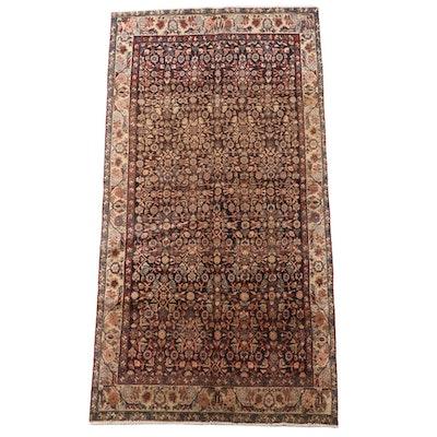 4'4 x 9'1 Hand-Knotted Persian Hamadan Herati Wool Area Rug