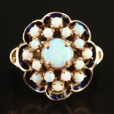 Vintage 10K Opal and Enamel Cluster Ring