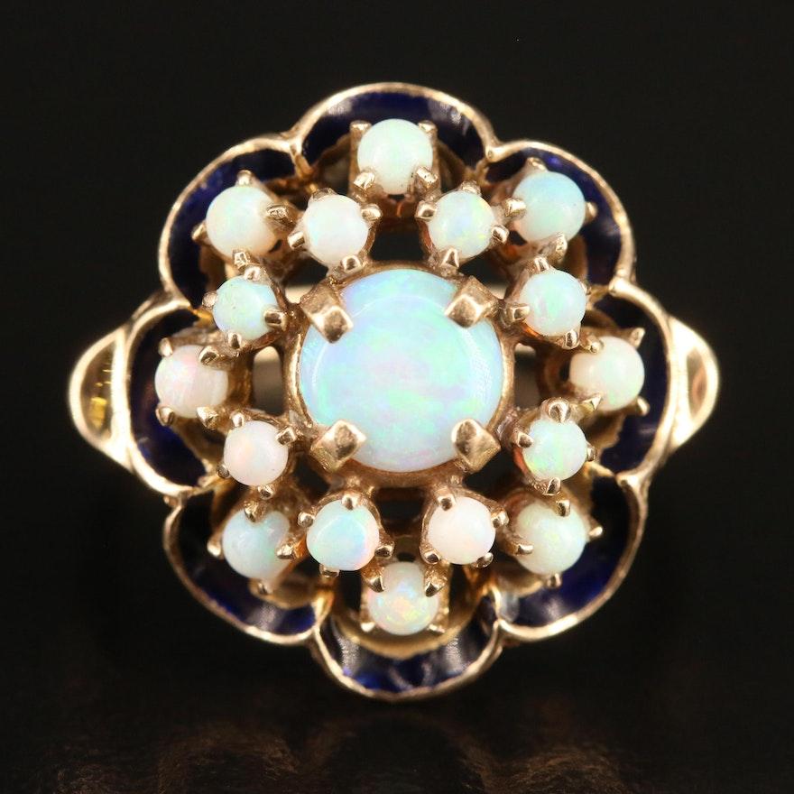 Vintage 10K Opal and Enamel Cluster Ring