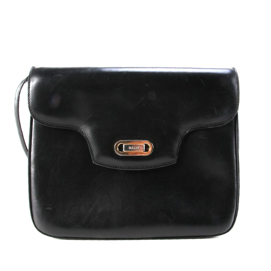 Bally Flap Front Crossbody in Black Smooth Leather