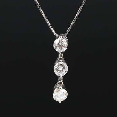 Platinum 1.00 CTW Diamond Line Necklace