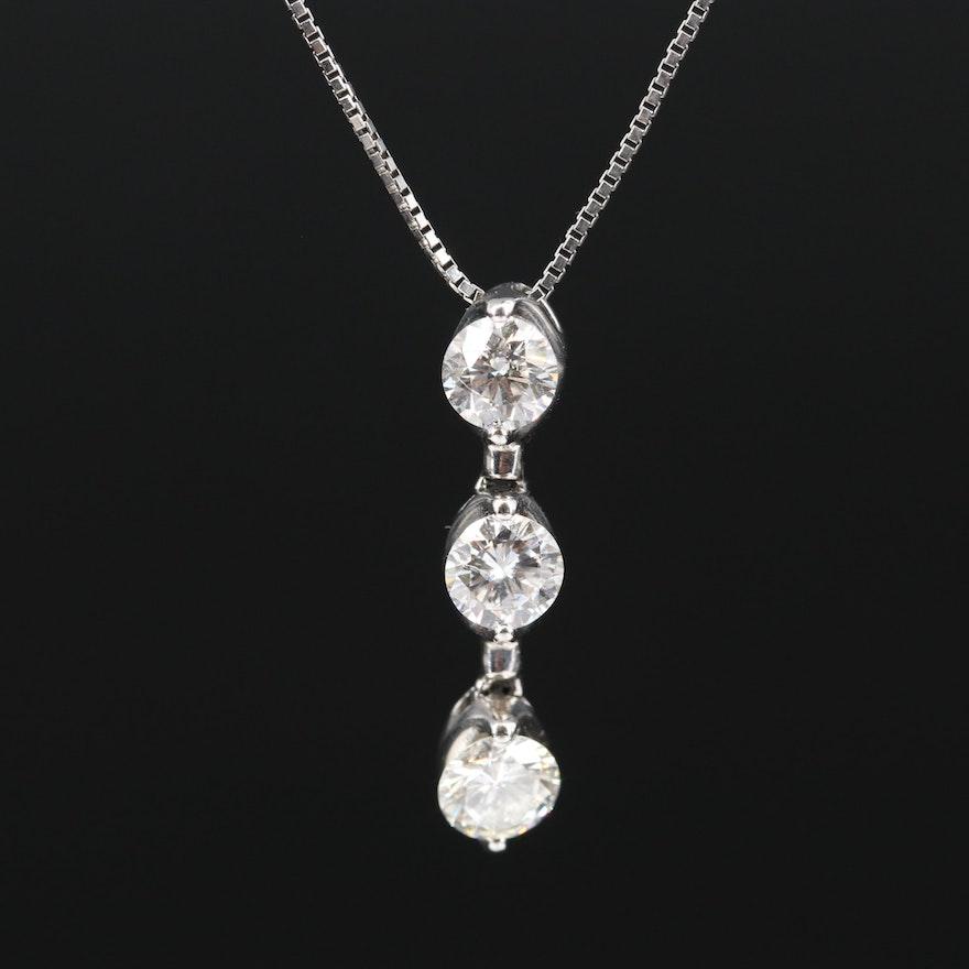 Platinum 1.00 CTW Diamond Line Necklace