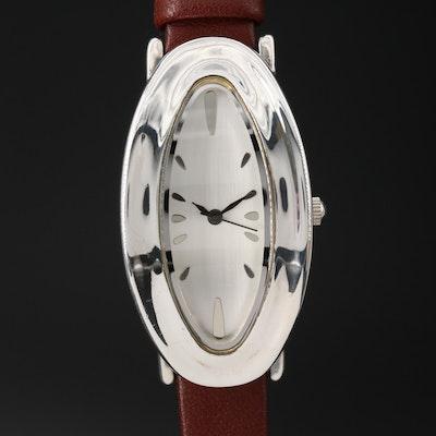 RLM Studio Modernist Oval Sterling Silver Quartz Wristwatch