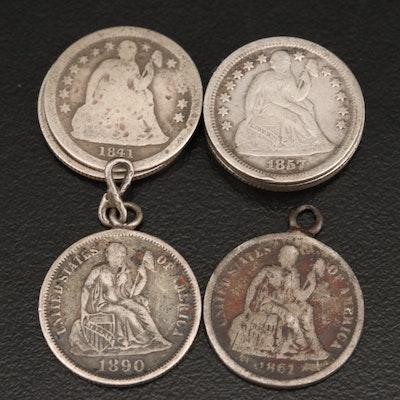 Nine Liberty Seated Silver Dimes