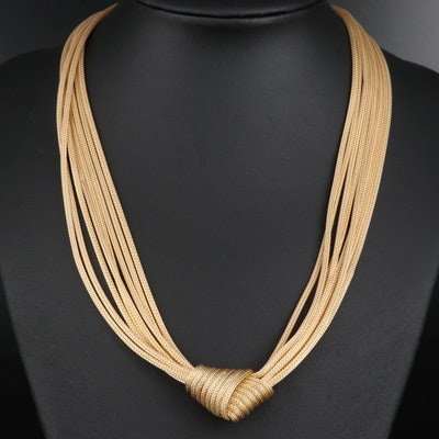 14K Multi-Strand Wheat Chain Knot Necklace