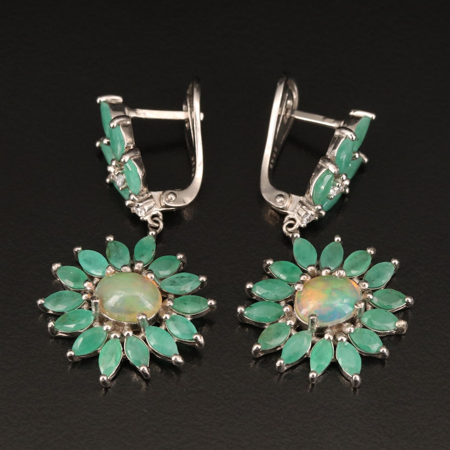 Sterling Emerald, Opal and Cubic Zirconia Earrings