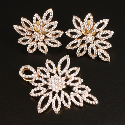 18K Cubic Zirconia Openwork Pendant and Earring Set
