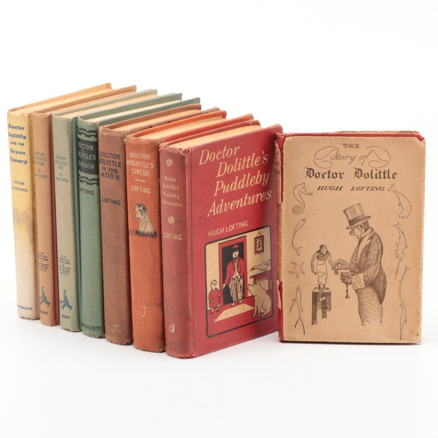 """Collection of  """"Doctor Dolittle"""" Novels by Hugh Lofting, 1950s"""