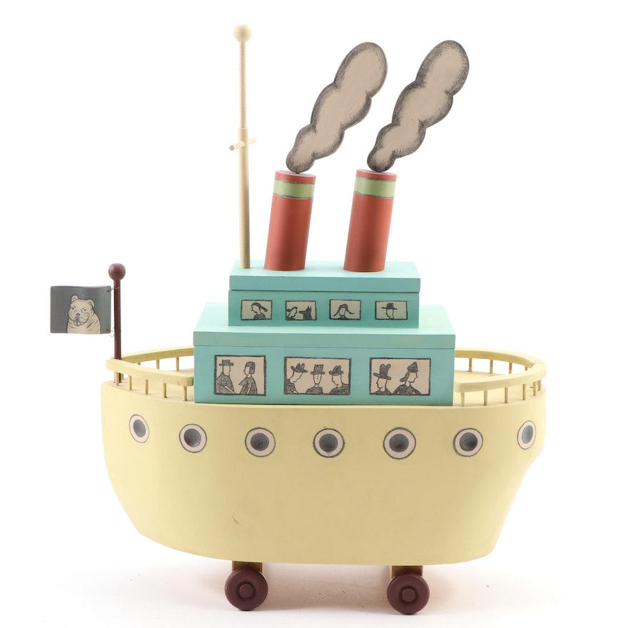 Folk Art Handmade Wooden Steam Boat-Shaped Stacking Box, Contemporary