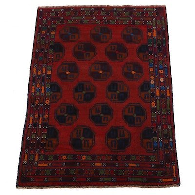 3'1 x 4'5 Hand-Knotted Afghan Baluch Accent Rug