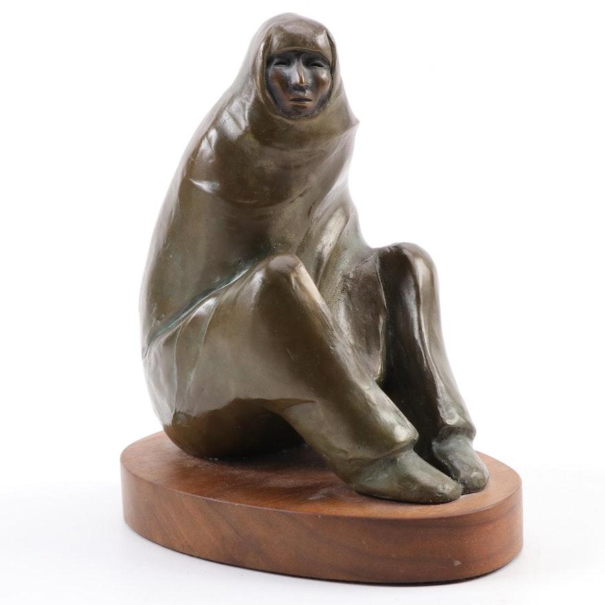 """Allan Houser Bronze Sculpture """"Tiwa Man,"""" 1994"""