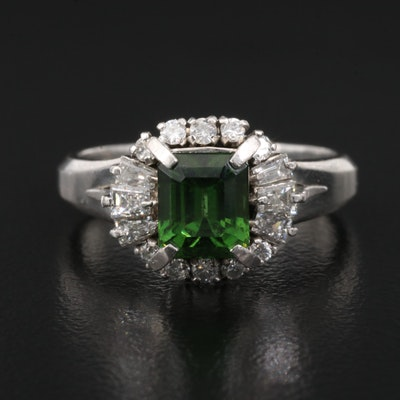 Platinum Diopside and Diamond Ring