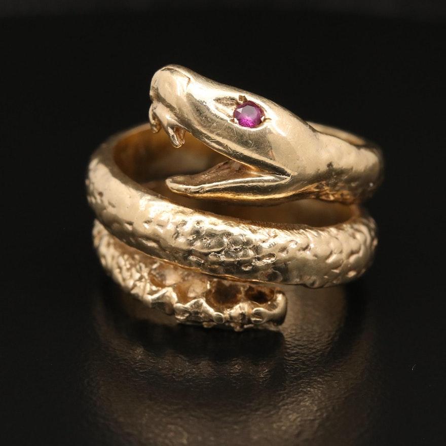 14K Ruby Rattlesnake Ring