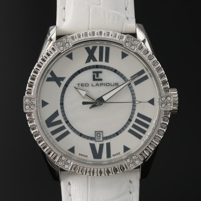 Ted Lapidus Mother of Pearl Dial Stainless Steel Wristwatch with Date