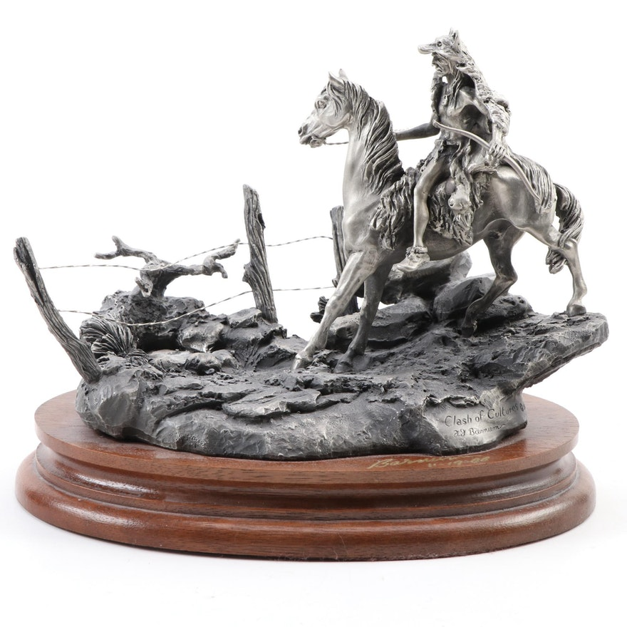 """Francis J. Barnum for Chilmark Pewter Sculpture """"Clash of Cultures,"""" 1988"""