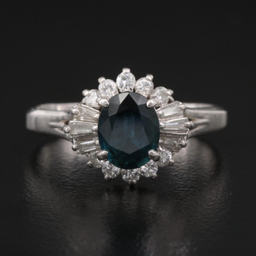 Platinum 1.17 CT Sapphire and Diamond Ring
