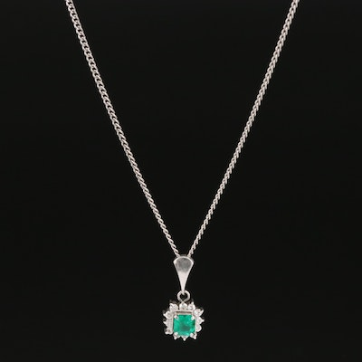 Platinum Emerald and Diamond Necklace