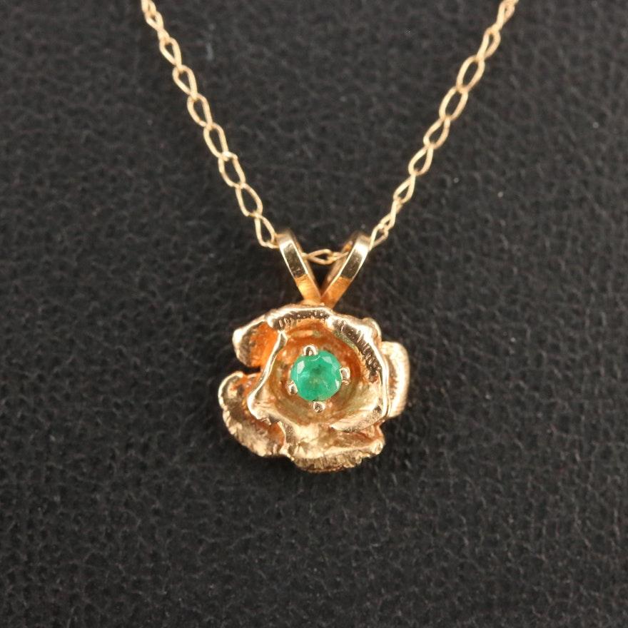 14K Emerald Floral Pendant Necklace