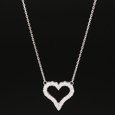 Platinum Diamond Heart Necklace