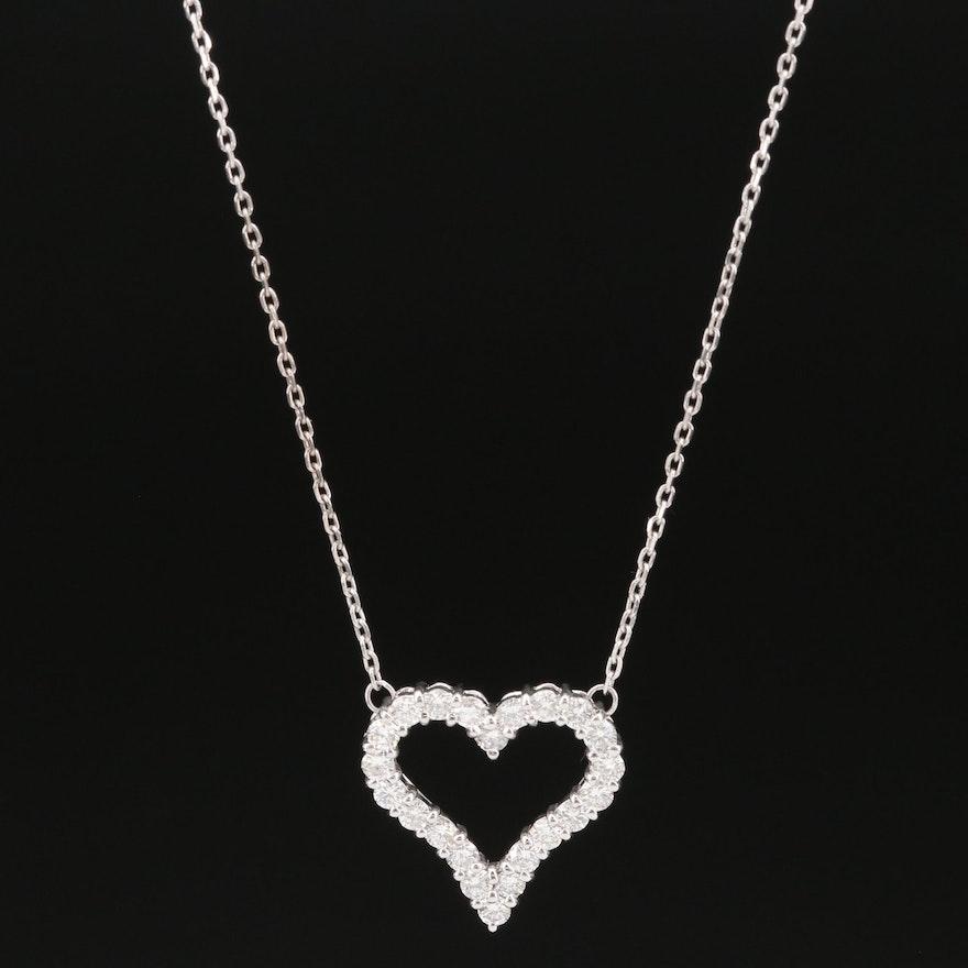Platinum Diamond Heart Necklace