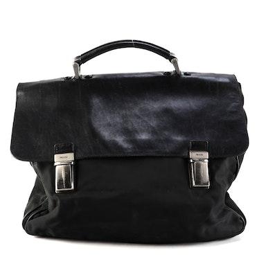 Prada Briefcase in Black Nylon and Nappa Leather