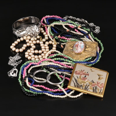 Costume Jewelry Featuring Antique Brooch and Swarovski Necklace