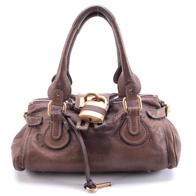 Chloé Paddington Medium Satchel in Brown Grained Leather